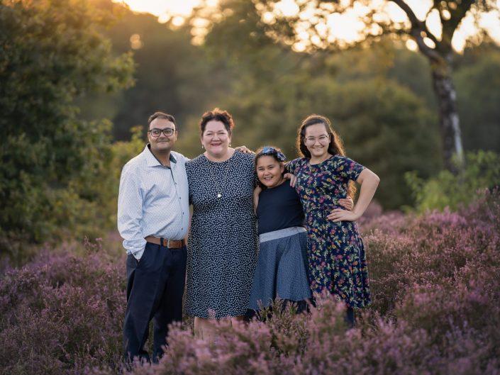 Paarse heide Familiefotoshoot